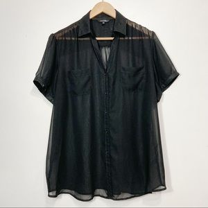 George Sheer Black Button Down Short Sleeve Blouse Size 2X